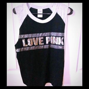 PINK Black and silver sleeveless T